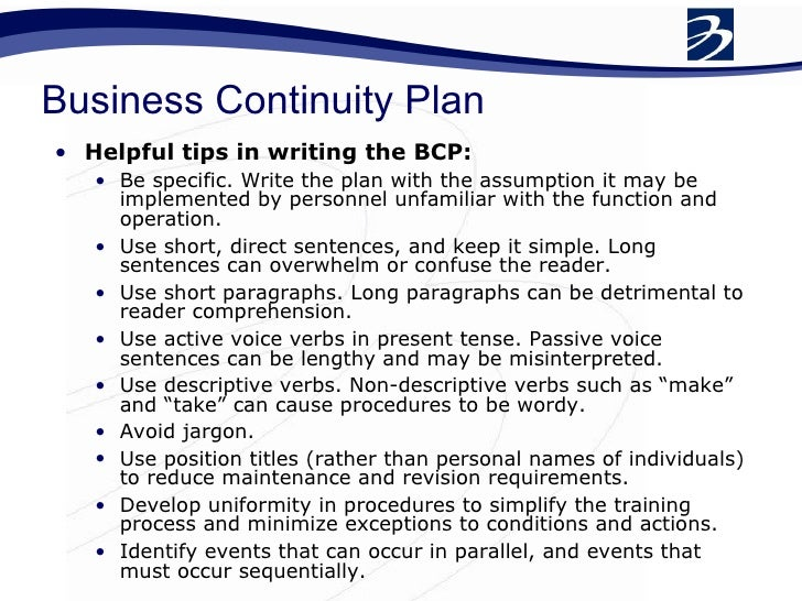 what s in a business continuity plan