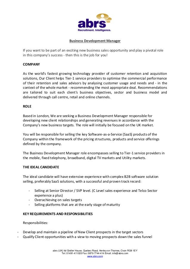 Business Development Manager job in London from abrs