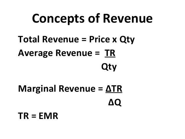 Concepts of Revenue Total Revenue = Price x Qty Average Revenue = TR Qty Marginal Revenue = ∆TR ∆Q TR = EMR