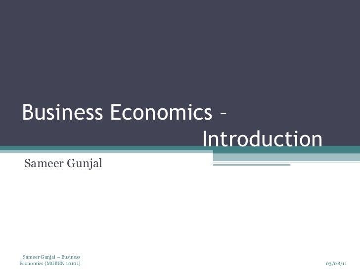 Business economics   introduction