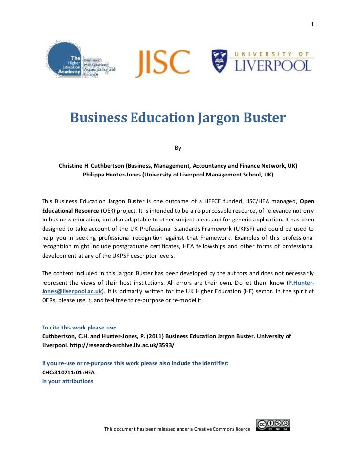 Business education jargon buster oer