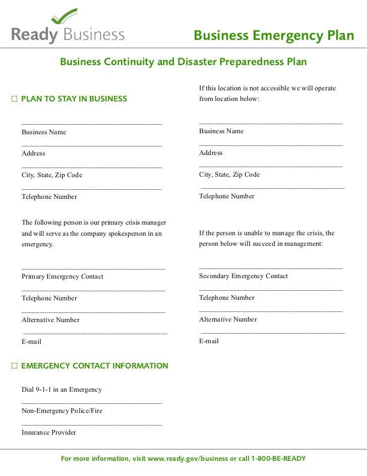 Business emergency plan