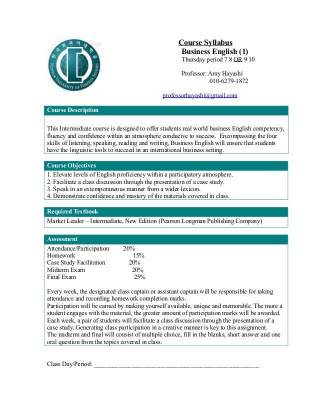 Course Syllabus                                                      Business English (1)                                 ...