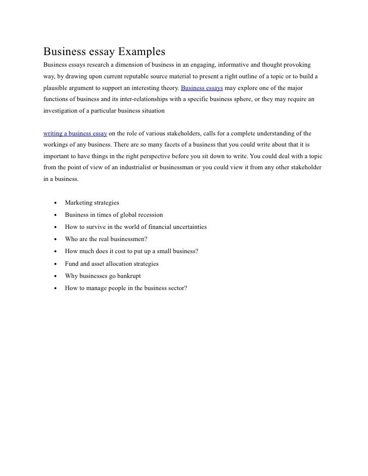 Business essay examples