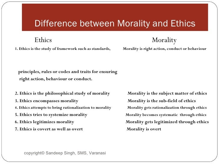 difference between ethics and morality essay The six vital differences between morals and ethics are discussed here the first one is that morals deals with what is 'right or wrong' but ethics deals with what is.