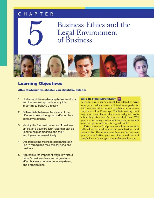 jon24565_ch05.qxd  11/2/05  1:22 PM  Page 138  C H A P T E R  5  Business Ethics and the Legal Environment of Business  Le...