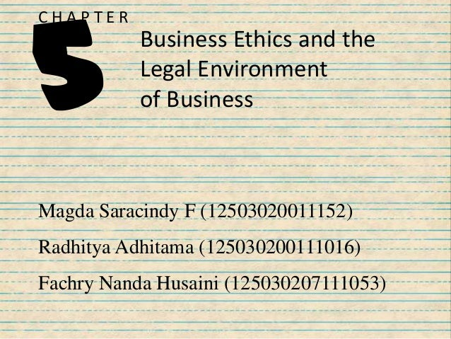 Business Ethics and the Legal Environment of Business C H A P T E R 5 Magda Saracindy F (12503020011152) Radhitya Adhitama...