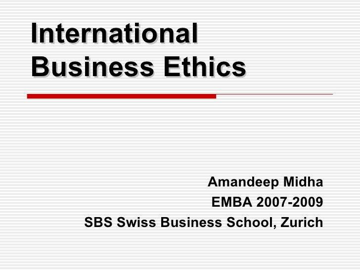 International Business: International Business Code Of Ethics