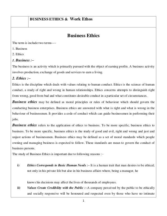 Business ethics &  work ethos