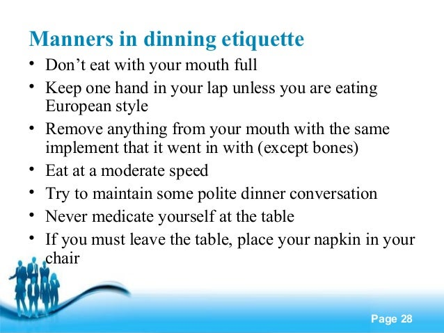 Eating Etiquette Manners Manners in Dinning Etiquette