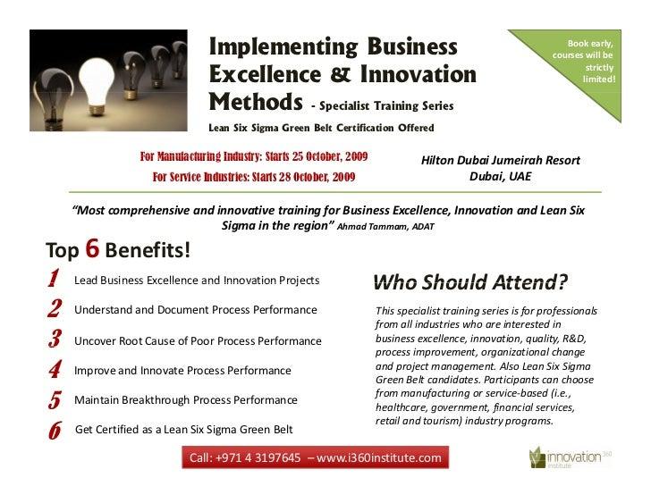 Innovative Classroom Training Methods : Business excellence and innovation methods training program