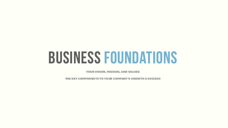 business foundations             YOUR VISION, MISSION, AND VALUES  THE KEY COMPONENTS TO YOUR COMPANY'S GROWTH & SUCCESS