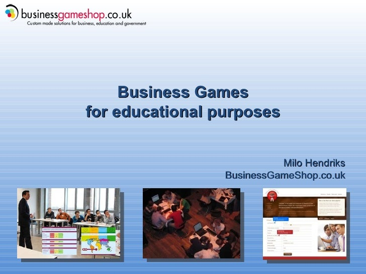 Business Games for educational purposes Milo Hendriks BusinessGameShop.co.uk
