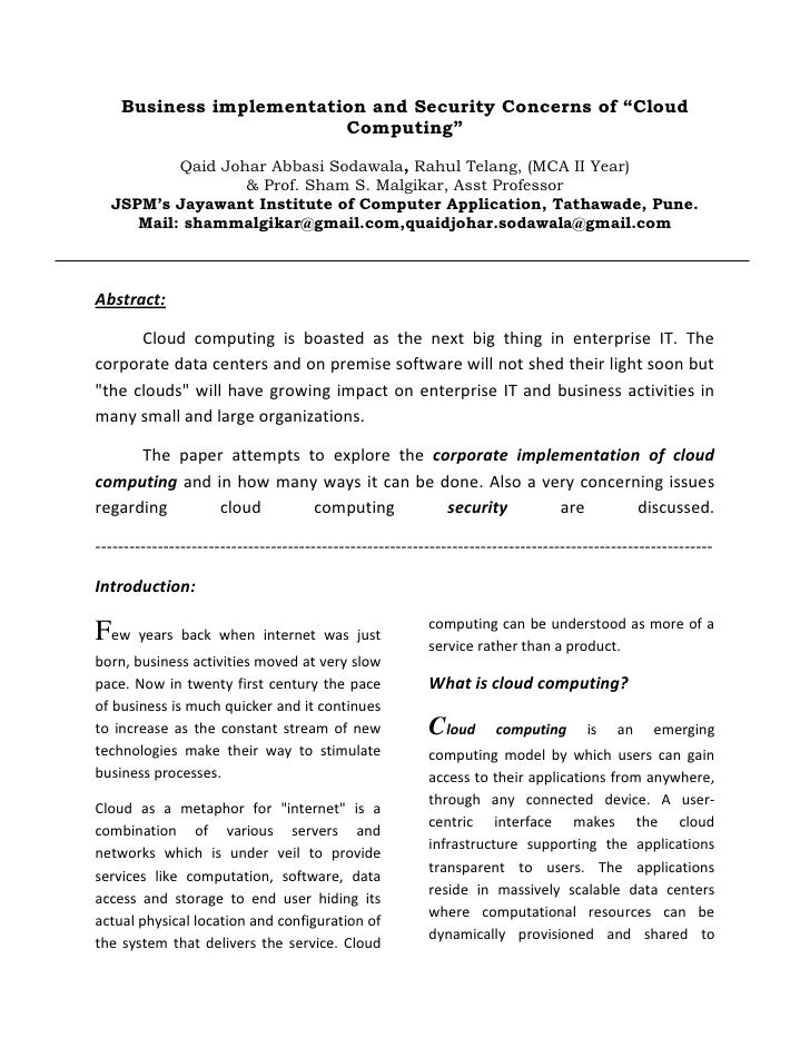 "Business implementation and Security Concerns of ""Cloud                         Computing""          Qaid Johar Abbasi Soda..."