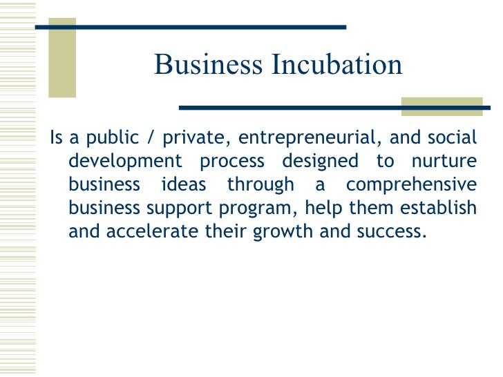 Business Incubation <ul><li>Is a public / private, entrepreneurial, and social development process designed to nurture bus...