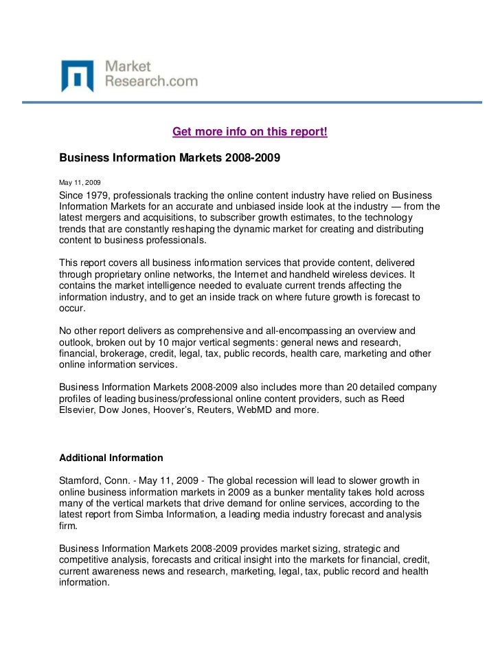 Get more info on this report!Business Information Markets 2008-2009May 11, 2009Since 1979, professionals tracking the onli...