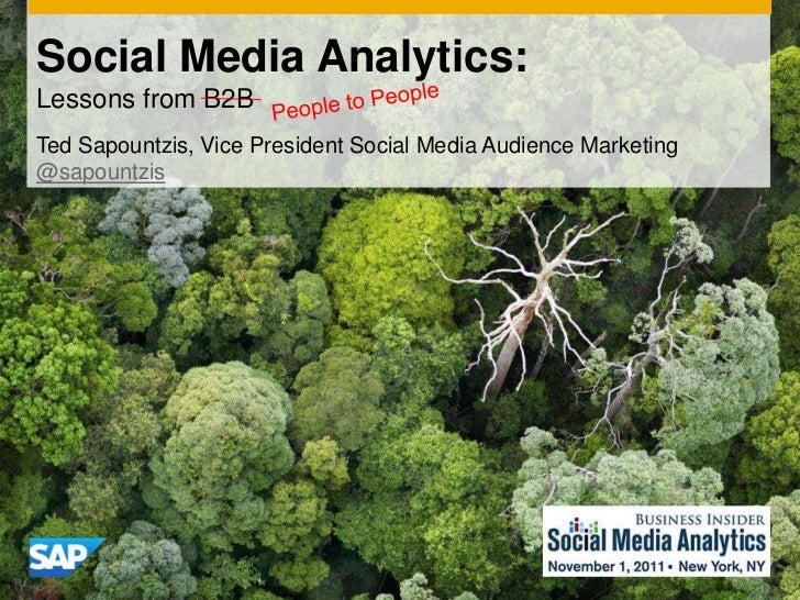 Social Media Analytics:Lessons from B2BTed Sapountzis, Vice President Social Media Audience Marketing@sapountzis