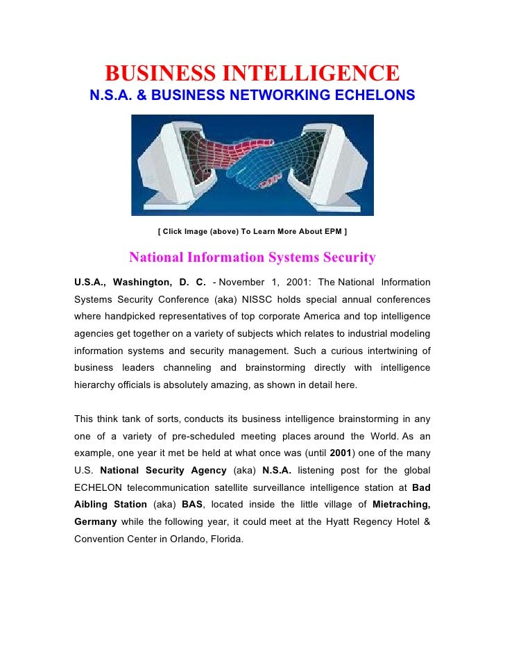BUSINESS INTELLIGENCE    N.S.A. & BUSINESS NETWORKING ECHELONS                        [ Click Image (above) To Learn More ...