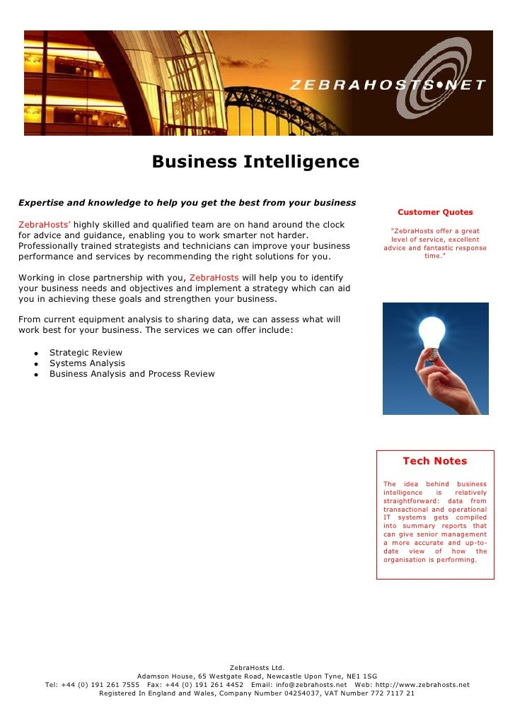 Business Intelligence  Expertise and knowledge to help you get the best from your business                                ...