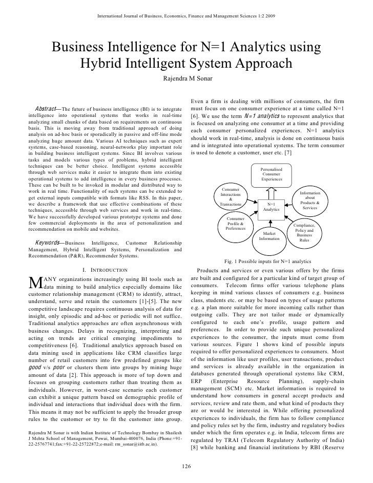 Business intelligence for n=1 analytics using hybrid intelligent system approach