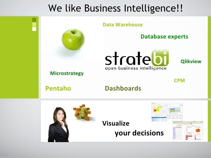 Data Warehouse   Database experts       Qlikview Microstrategy     CPM Pentaho  Dashboards We like Business Intelligence!!...