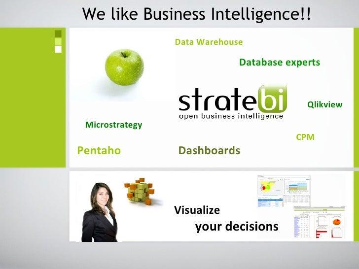 Data Warehouse   Database experts       Qlikview Microstrategy     CPM Pentaho  Dashboards We like Business Intelligence!!...