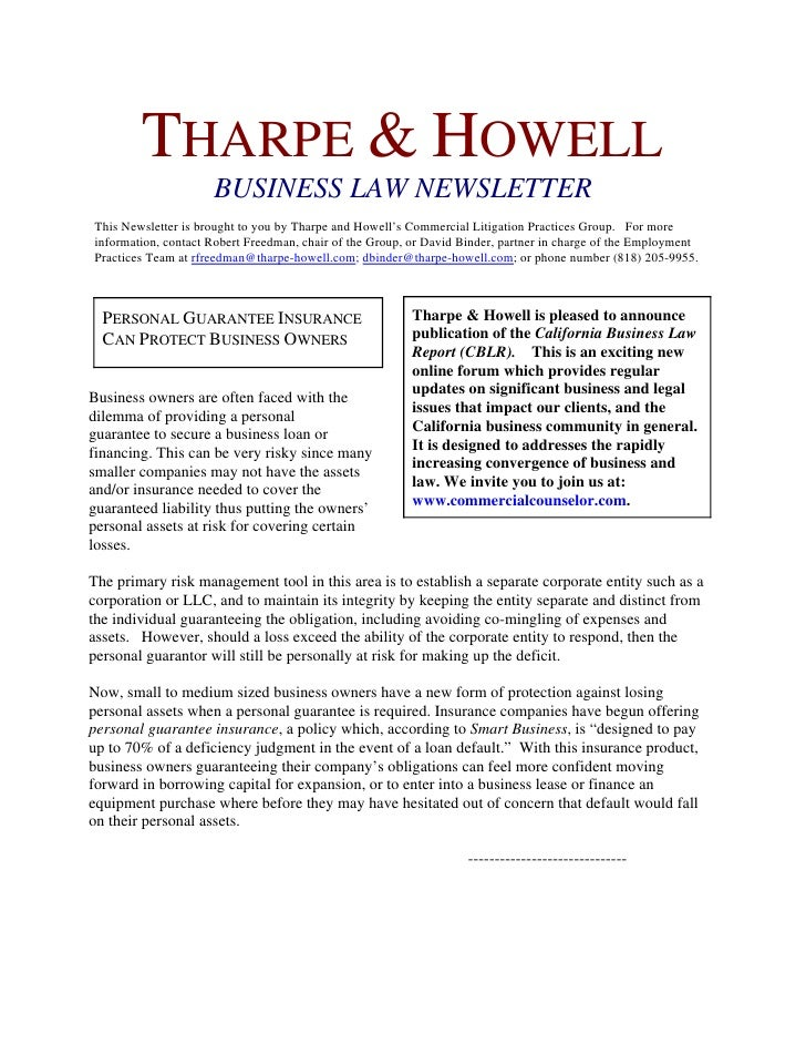 THARPE & HOWELL                     BUSINESS LAW NEWSLETTERThis Newsletter is brought to you by Tharpe and Howell's Commer...