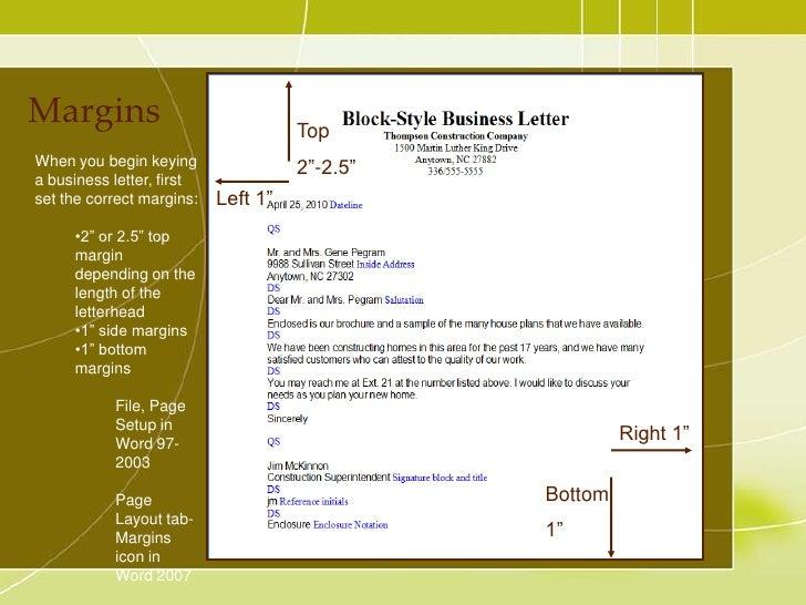 Business Letter Margins
