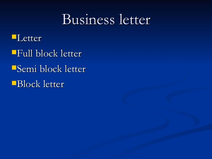 Business Letter Presentation