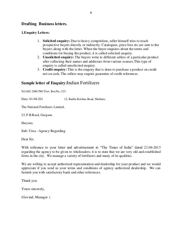 Layout Business Letter Enquiry