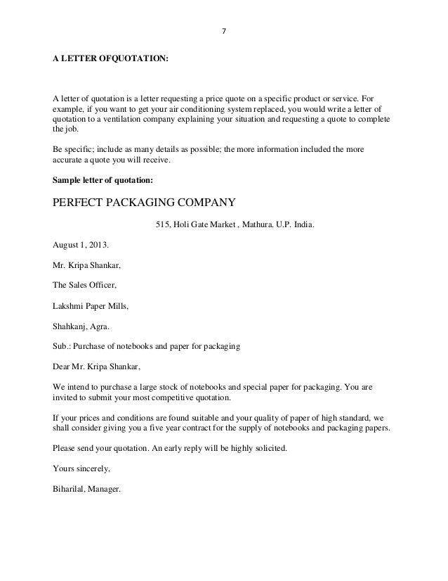 Sample Business Letter Of Itemized Products
