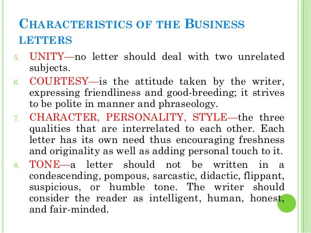 8 characteristics of business letter Personality traits are specific characteristics that a  8 thoughts on  list of personality traits   business computers and internet.