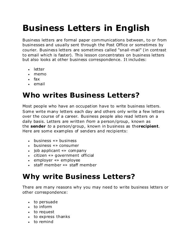 Formulating letters and emails in english – table of contents