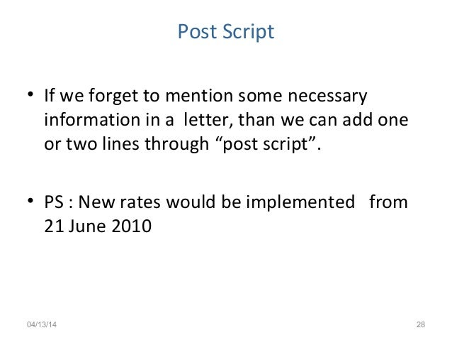 How to write a post script