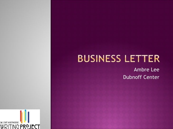Business letter week 12