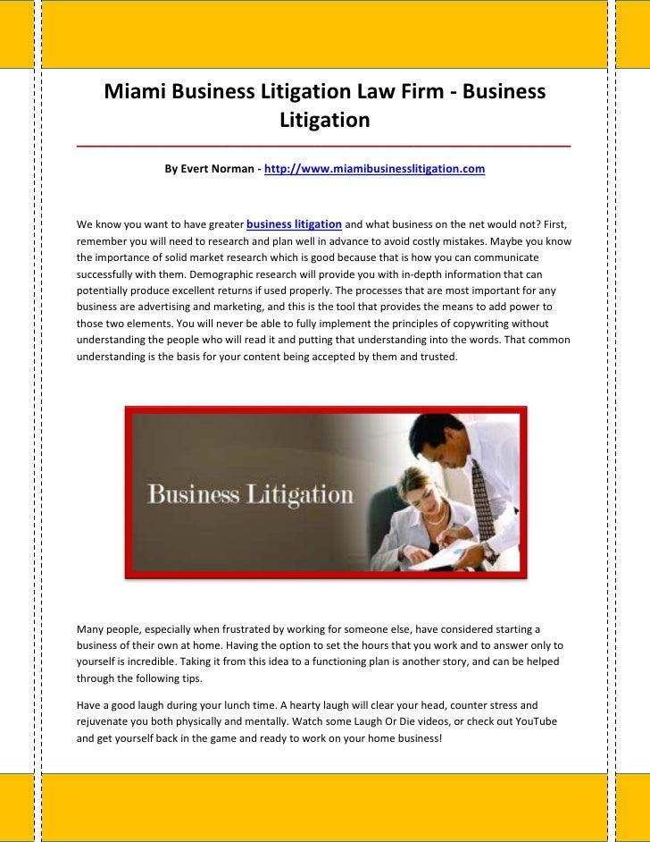 Miami Business Litigation Law Firm - Business                      Litigation_____________________________________________...