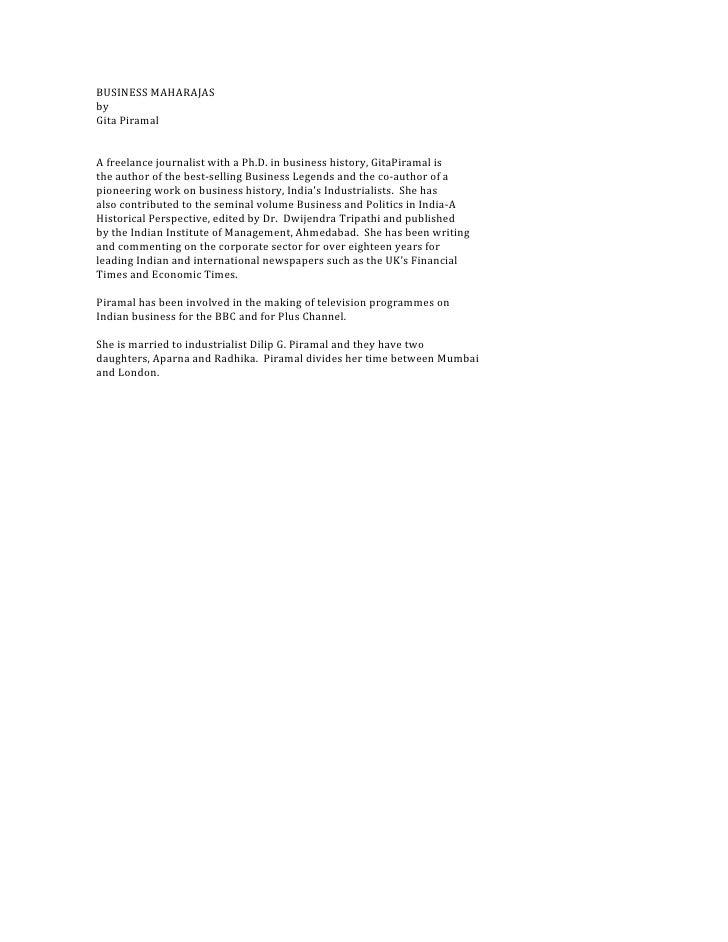 BUSINESS MAHARAJASbyGita PiramalA freelance journalist with a Ph.D. in business history, GitaPiramal isthe author of the b...
