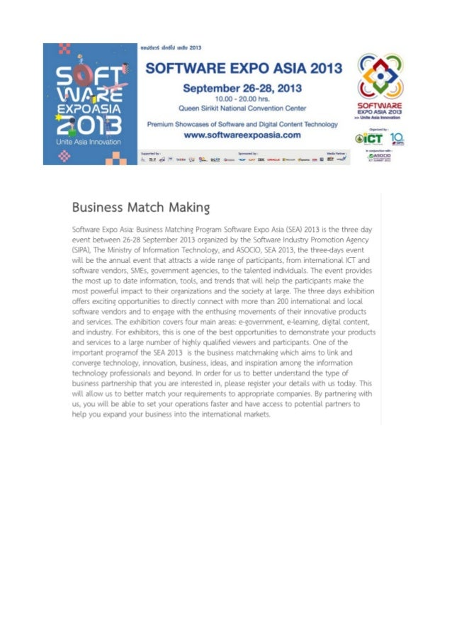 Company Profiles for Business Match Making on Software Expo Asia 27 Sep 2013