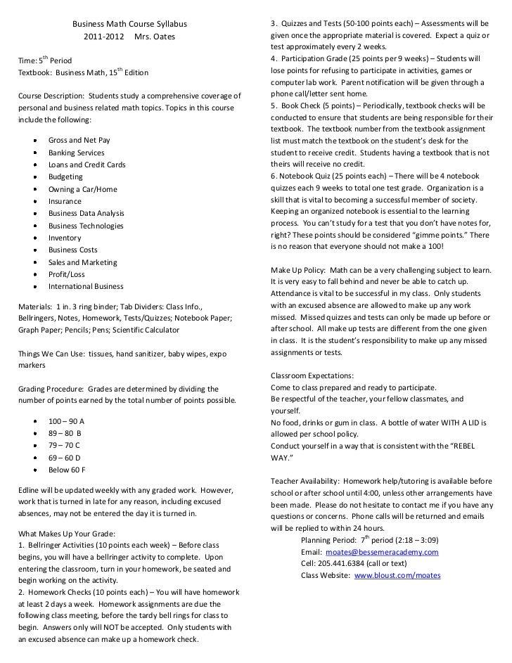 Business Math Course Syllabus