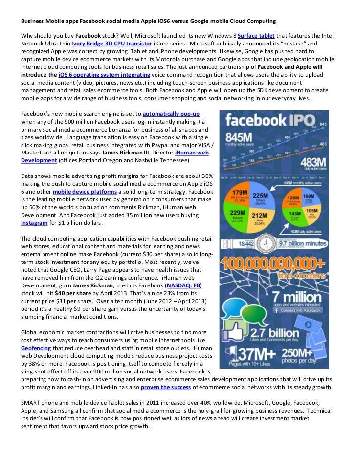 Business mobile apps Facebook social media Apple iOS 6 versus Google applications