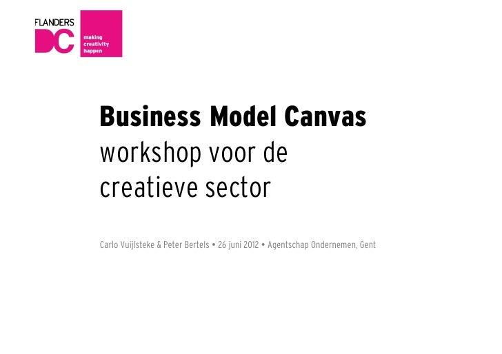 Business Model Canvasworkshop voor decreatieve sectorCarlo Vuijlsteke & Peter Bertels  26 juni 2012  Agentschap Ondernem...