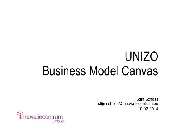 Business model canvas  - unizo communicatie