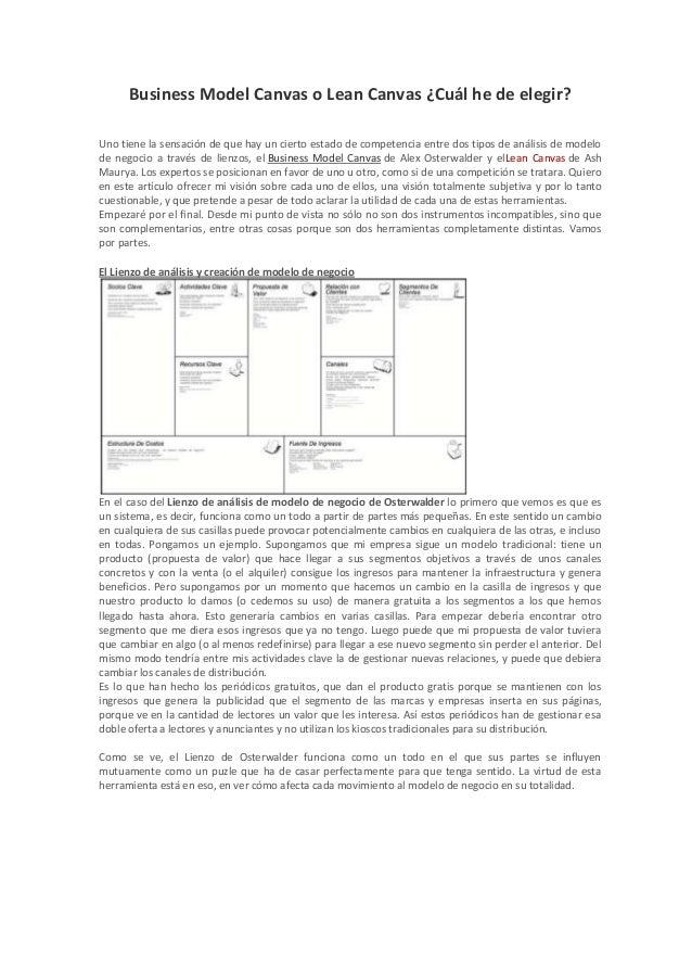 Business model canvas o lean canvas