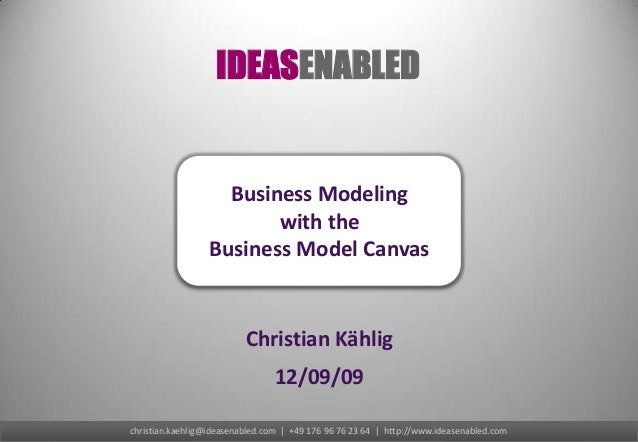 IDEASENABLED                    Business Modeling                         with the                  Business Model Canvas ...