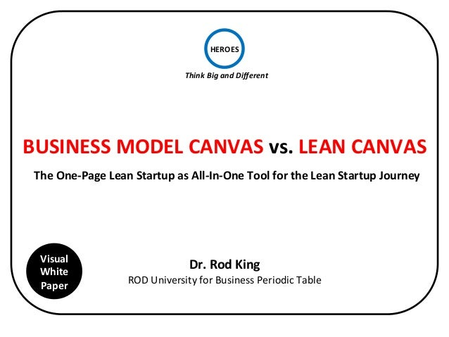 HEROES  Think  Big  and  Different  BUSINESS  MODEL  CANVAS  vs.  LEAN  CANVAS  The  One-­‐Page  Lean  Startup  as  All-­‐...