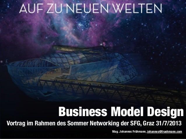 Vortrag im Rahmen des Sommer Networking der SFG, Graz 31/7/2013 Mag. Johannes Frühmann, johannes@fruehmann.com Business Mo...