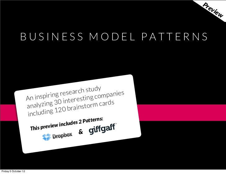 Business Model Patterns... the preview - by @boardofinno