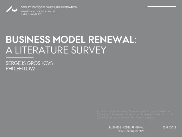 Business Model Renewal: A Literature Survey