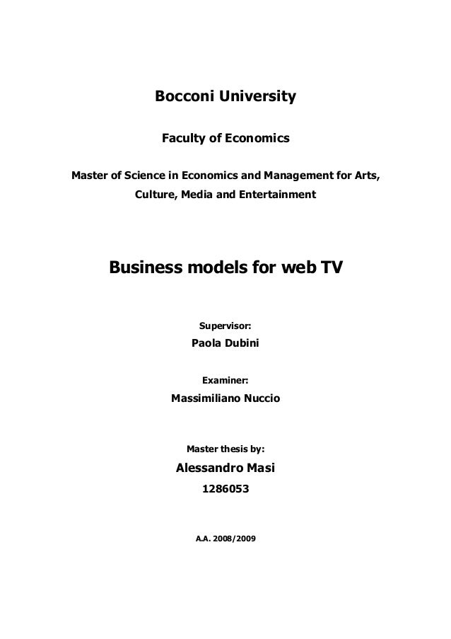 Business Models for Web TV - Research Report
