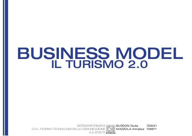BUSINESS MODEL PER IL TURISMO 2.0
